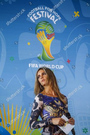 Stock Photo of Brazilian Model Fernanda Lima Takes Part During the Launch of the 'Football For Hope 2014' Tournament in Rio De Janeiro Brazil 20 May 2014 the 'Football For Hope 2014' Tournament Will Be Played From 07 and 10 July 2014 As Part of the Fifa World Cup 2014 in Brazil Brazil Rio De Janeiro