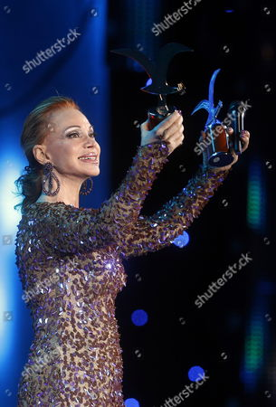Spanish Singer Paloma San Basilio Receives the 'Golden Seagull' and 'Silver Seagull' Awards After Her Concert on the Fifth Day of the International Festival of Vina Del Mar 120 Km From Santiago De Chile Chile 27 February 2014 the Festival is Held Between 23 and 28 February Chile Vina Del Mar