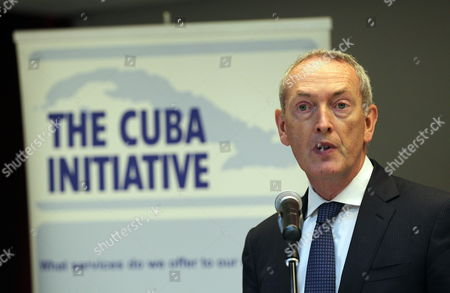 Stock Photo of Co-president of the Cuba Initiative John Hutton Speaks During the Inauguration of a Business Seminar in Havana Cuba 28 April 2015 a British Business Mission with Representatives of 32 Companies is in Cuba to Diversify Bilateral Commercial Exchanges Cuba Havana