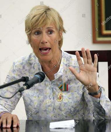 Us Swimmer Diana Nyad Speaks During a Press Conference in Havana Cuba 30 August 2014 Cuba Has Awarded Nyad with the Order of Sports Merit One Year After Her Record Crossing From Havana to Key West Coast in Florida Without Shark Protection Cuba La Habana