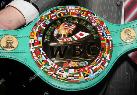 The New Championship Belt Made with Italian Leather and Gold During a News Conference in Mexico City Mexico on 03 September 2013 the Special Belt Will Be Presented to the Winner of the Wbc Middleweight Title Boxing Match Between Us Floyd Mayweather and Mexican Saul Alvarez on 14 September in Las Vegas Nevada Usa Mexico Mexico City