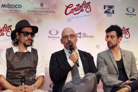 Stock Image of Spanish Actor Oscar Jaenada (l) Mexican Director Sebastian Del Amo (c) and Mexican Actor Luis Gerardo Mendez (r) During a Press Conference to Present the Movie 'Cantinflas' in Mexico City Mexico 08 September 2014 the Movie Will Be Released in Mexico on 18 September Mexico Mexico City