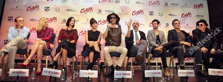 (l-r) Mexican Actor Eduardo Espana Mexican-russian Actress Ana Layevska Mexican Actors Gabriela De La Garza and Ilse Salas Spanish Actor Oscar Jaenada Mexican Director Sebastian Del Amor Mexican Actor Gerardo Mendez Producer Vidal Cantu and Spanish Actor Javier Gurruchaga During a Press Conference to Present the Movie 'Cantinflas' in Mexico City Mexico 08 September 2014 the Movie Will Be Released in Mexico on 18 September Mexico Mexico City