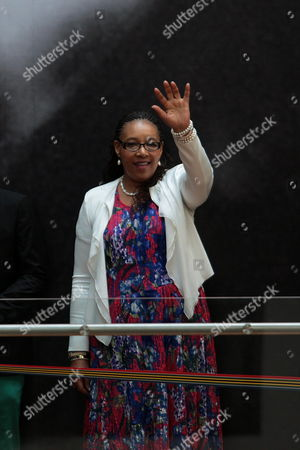 Zenani Mandela Daughter of South African Late Leader Nelson Mandela Waves As She Arrives at Museum of Memory and Tolerance in Mexico City Mexico 03 October 2014 in the Frame of the Exhibition 'The Legacy of Mandela 20 Years of Freedom in South Africa' Which Will Be Open Until Next 12 January 2015 Mexico Mexico City