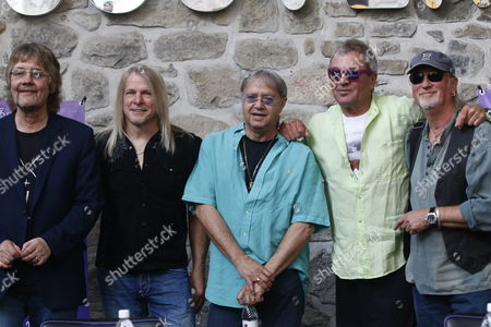 Members of the British Rock Band Deep Purple (l-r) Don Airey Steve Morse Ian Paice Lan Gillan and Roger Glover Pose During a Press Conference in Puebla Mexico 26 May 2015 the Band Will Begin a Tour in Mexico on 27 May 2015 Mexico Puebla
