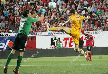 Tigres Player Marco Rodriguez (r) Fights For the Ball with Tijuana's Cirilo Saucedo (l) During Their Mexican Apertura Tournament Match at Estadio Caliente Stadium in Tijuana Mexico 01 August 2014 Mexico Tijuana