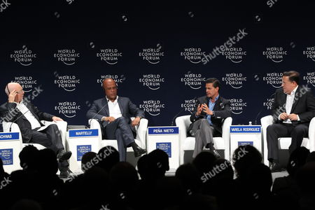 (l-r) Founder and Ceo of World Economic Forum Klaus Schwab Haitian President Michel Joseph Martelly Mexican President Enrique Pena Nieto and Panamanian President Juan Carlos Varela Rodriguez Participate in the Opening Session of 10th Edition of Latin American World Economic Forum in Riviera Maya Mexico 07 May 2015 Mexico Riviera Maya