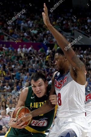 Rudy Gay (r) of the Usa in Action Against Jonas Maciulis of Lithuania During the Fiba Basketball World Cup Semi-final Match Between the Usa and Lithuania at Palau Sant Jordi Sports Pavilion in Barcelona Catalonia North-eastern Spain 11 September 2014 Spain Barcelona