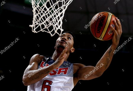 Derrick Rose of the Usa in Action During the Fiba Basketball World Cup Semi-final Match Between the Usa and Lithuania at Palau Sant Jordi Sports Pavilion in Barcelona Catalonia North-eastern Spain 11 September 2014 Spain Barcelona