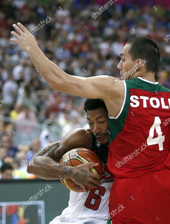 Us Guard Derrick Rose (l) in Action Against Mexico's Paul Stoll (r) During the Fiba Basketball World Cup Round of 16 Match Between the Usa and Mexico at the Palau San Jordi Pavilion in Barcelona Northeastern Spain 06 September 2014 Spain Barcelona