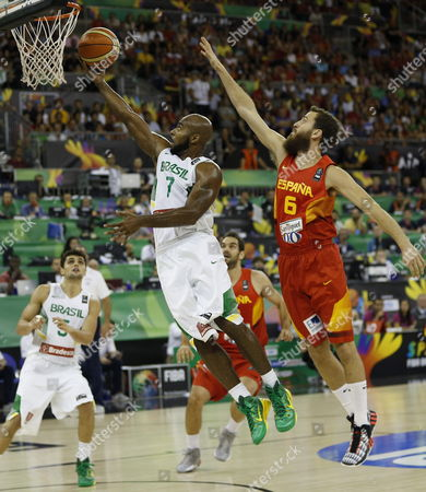Spain's Sergio Rodriguez (r) in Action Against Brazil's Larry Taylor (c) During the Fiba Basketball World Cup Group a Match Between Brazil and Spain at the Sports Pavilion in Granada Andalusia Spain 01 September 2014 Spain Granada