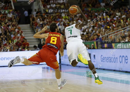 Spain's Guard Jose Calderon (l) in Action Against Brazil's Larry Taylor (r) During the Fiba Basketball World Cup Group a Match Between Brazil and Spain at the Sports Pavilion in Granada Andalusia Spain 01 September 2014 Spain Granada
