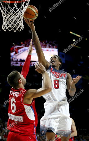 Us Power Forward Rudy Gay (r) Shoots in Front of Serbian Guard Stefan Jovic During the Fiba Basketball World Cup Final Match Between the Usa and Serbia in Madrid Central Spain 14 September 2014 Spain Madrid