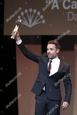 Spanish Actor and Film Director Daniel Guzman Celebrates on Stage After Receiving the Golden Biznaga Award For His Film 'Exchange For Nothing' (a Cambio De Nada) As Part of Malaga Film Festival in Malaga Southern Spain Late 25 April 2015 the Festival Runs Until the Upcoming 26 April Spain Malaga