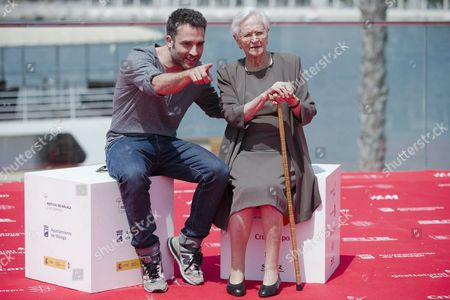 Spanish Actor and Film Director Daniel Guzman (l) Poses with His Grandmother and Actress Antonia Guzman (r) During the Presentation of His Last Film 'Exchange For Nothing' (a Cambio De Nada) As Part of Malaga Film Festival in Malaga Southern Spain 23 April 2015 the Festival Runs Until the Upcoming 26 April Spain Malaga