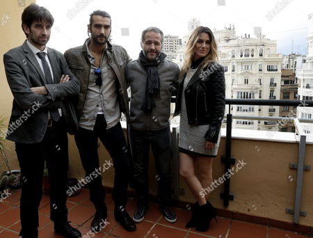 Spanish Actors Aitor Luna (2-l) and Blanca Suarez (r) Pose with the Spanish Director Gustavo Ron (2-r) and the Director of Valencia's Regional Government's Office in Charge of Audovisulas and Cinema 'Cultur Arts' Jose Luis Moreno Maicas During the Presentation of the Shooting of 'My Bakery in Brooklyn' in Valencia Spain 16 December 2014 Spain Valencia