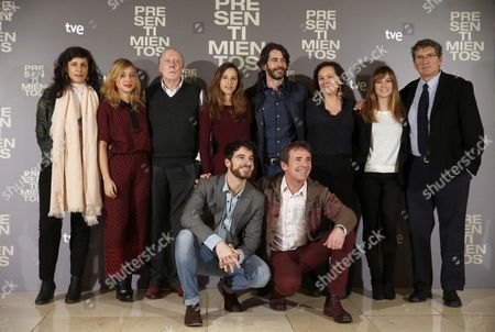 Spanish Filmmaker Santiago Tabernero (front Row R) Poses with the Cast of His New Movie 'Presentimientos' in Madrid Spain 21 January 2014 the Movie is Based on a Novel of the Same Title by Spanish Writer Clara Sanchez (back Row 3-r) Spain Madrid