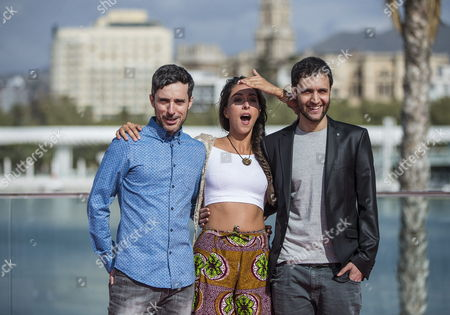 Spanish Film Maker Pau Teixedor (l) and Actors Oona Chaplin (c) and Andres Gertrudix (r) During the Presentation of the Film 'Purgatorio' (purgatory) During the 17th Malaga's Film Festival in Malaga Southern Spain 28 March 2014 the Festival Runs From 21 to 29 March Spain Malaga