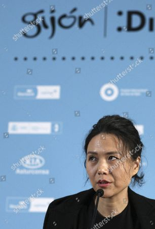Chinese Filmmaker Vivian Qu Speaks During a Press Conference For the Presentation of Her First Film As Director 'Trap Street' at the Gijon International Film Festival in Oviedo Northern Spain 27 November 2014 the Film Competes in the Festival's Official Section Spain Oviedo