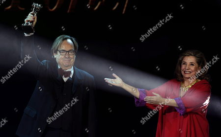 Spanish Film Director Ventura Pons (l) Receives the Honorary Gaudi Award From the President of the Catalonian Cinema Academy Isona Passola (r) During the 7th Edition of the Cinema Gaudi Awards Gala Held in Barcelona Spain 01 February 2015 Evening Spain Barcelona