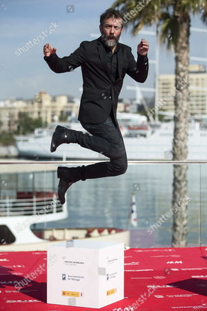 Spanish Actor Jose Luis Garcia-perez Jumps in the Air As He Poses During the Presentation of the Spanish Movie 'El Pais Del Miedo' (country of Fear) at the 18th Edition of the Malaga Film Festival in Malaga Spain 21 April 2015 Spain Mßlaga