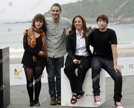 Mexican Actors Lucio Gimenez Cacho (r) and Danae Reynaud Romero (l) Bolivian Actress Maria Renee Prudencio (2-r) and Mexican Film Director Fernando Eimbcke (2-l) Pose During the Presentation of 'Club Sandwich' During the 61st San Sebastian International Film Festival in San Sebastian Spain 25 September 2013 the Movie is Presented in the Official Selection of the Festival Running From 20 to 28 September Spain San Sebastián