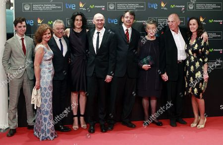 Australian Film Director Jonathan Teplitzky (c) Patricia Lomax (3-r) Widow of Protagonist who is Based the Film Interpreted by Actress Nicole Kidman British Producer Bill Curbishley (2-l) and British Screenwriter Frank Cottrell Boyce (3-l) Pose with Guests During the Premiere of 'The Railway Man' During the 61st San Sebastian International Film Festival in San Sebastian Spain 25 September 2013 the Movie is Presented in the Official Selection of the Festival Running From 20 to 28 September Spain San Sebastian