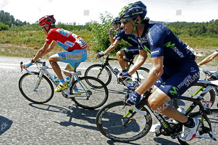 Slovak of Astana Team Janez Brajkovic (l) Rides with the Pack of Cyclists During the 177km-long Second Stage of the Spanish Cycling Tour 'Vuelta' Between Pontevedra and Monte Da Groba Galicia Northwestern Spain 25 August 2013 Spain Pontevedra