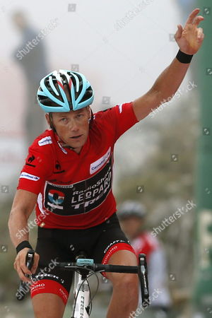 Us Cyclist Chris Horner From Radioshack Crosses the Finish Line of the 20th Stage of the 2013 Vuelta a Espana Cycling Tour a 142 2 Km Race Between Aviles and Alto De L'angliru Northern Spain 14 September 2013 Spain Alto Del Naranco