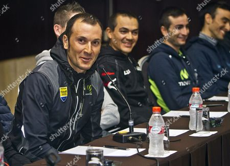 Italian Rider Ivan Basso (l) of the Tinkoff Saxo Team Speaks During a Press Conference For the Presentation of the Vuelta Andalucia (tour of Andalusia) Cycling Race in Puerto Umbria Southern Spain 17 February 2015 the Vuelta Andalucia Will Take Part From 18 February to 22 February 2015 Spain Punta Umbria