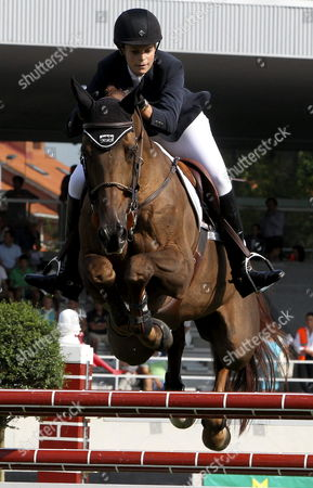Greek Athina Onassis De Miranda (r) Competes in the International Horse Jump Contest Held at Las Mestas' Race Course of Gijon on 28 August 2013 Spain Gijon