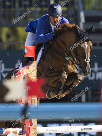 Brazilian Rider Alvaro De Miranda Nieto Competes with His Horse 'Ad Norson' at the 'Estrella Damm Trophy' in the Barcelona International Show Jumping Competition in Barcelona Spain 27 September 2013 Spain Barcelona
