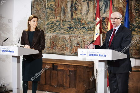 Eu Commissioner For Financial Programming and Budget Janusz Lewandowski Reacts During a Joint Press Conference with Castilla La Mancha's Regional President Maria Dolores De Cospedal (l) Following Their Meeting in Toledo Spain 15 February 2014 Spain Toledo