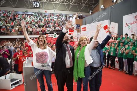 Social Democrat Candidate For the European Commission Presidency Martin Schulz (c-l) the Regional President of Andalucia Susana Diaz (l) and Psoe's Candidate For European Elections Elena Valenciano (2-r) Wave at Their Sympathizers During an Electoral Rally at the University Campus of Teatinos in Malaga South-eastern Spain on 11 May 2014 European Elections Will Be Celebrated in the European Union From 22 to 25 May Spain Mßlaga