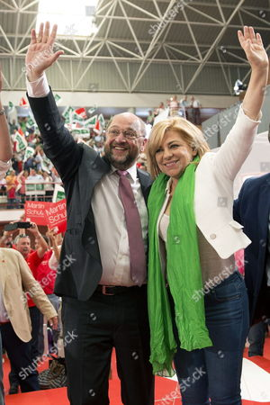 Social Democrat Candidate For the European Commission Presidency Martin Schulz (l) and Spanish Psoe's Candidate For the Upcoming European Elections Elena Valenciano (r) Wave During an Electoral Rally Held at the University Campus of Teatinos in Malaga South-eastern Spain on 11 May 2014 European Elections Will Be Celebrated in the European Union From 22 to 25 May Spain Malaga