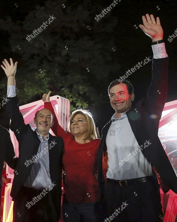 (l-r) Spanish Socialist Party (psoe) General Secretary Alfredo Perez Rubalcaba and Candidates Elena Valenciano and Tomas Gomez During Their Opening Electoral Rally Held in Madrid Spain 08 May 2014 Spain Madrid