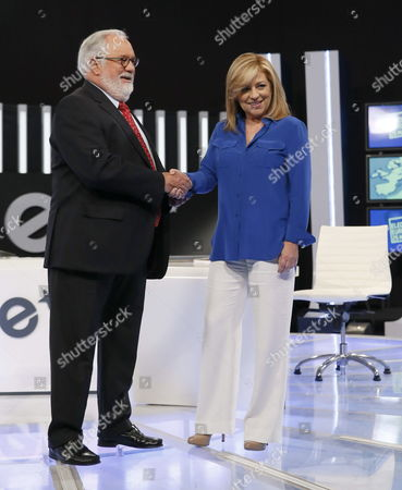 Popular Party Candidate For the European Parliament Miguel Arias Ca±ete (l) Shakes Hands with Socialist Party Candidate Elena Valenciano (r) Before Starring the Televised Debate Celebrated in Madrid 15 May 2014 Epa/ Juanjo Martin Spain Madrid