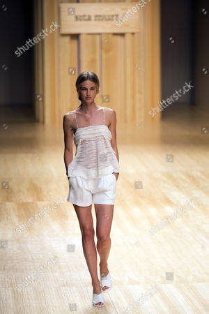 Dutch Model Ymre Stiekema Presents a Creation During the Sita Murt Show at the 080 Barcelona Fashion Days in Barcelona Spain 01 July 2014 the 14th Edition of the Fashion Event Runs From 30 June to 04 July Spain Barcelona