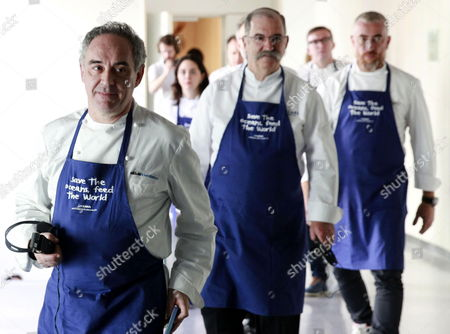 Spanish Chefs Ferrand Adria (l) Pedro Subijana (c) and Alex Atala (r) Attend the Presentation of Oceana's Campaign 'Save the Oceans: Feed the World' Held in San Sebastian Spain 17 March 2015 the Worldwide Project Aims to Protect the Oceans at the Same Time As Increasing the Seafood Available For Humanity Spain San Sebastian