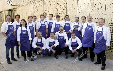 Italian Chef Massimo Botura (4-r Front Row) Spanish Ferrand Adria (r) Joan Roca (3-r) and Spanish Elena Arzak (3-l) and Other International Chefs Pose For a Group Photo on the Occasion of the Presentation of Oceana's Campaign 'Save the Oceans: Feed the World' Held in San Sebastian Spain 17 March 2015 the Worldwide Project Aims to Protect the Oceans at the Same Time As Increasing the Seafood Available For Humanity Spain San Sebastian