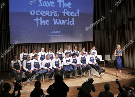 Italian Chef Massimo Botura (2-l Front Row) Spanish Ferrand Adria (4-l) Joan Roca (6-l Front Row) and Spanish Elena Arzak (2-r Second Row) and Other Chefs Attend the Presentation of Oceana's Campaign 'Save the Oceans: Feed the World' Held in San Sebastian Spain 17 March 2015 the Worldwide Project Aims to Protect the Oceans at the Same Time As Increasing the Seafood Available For Humanity Spain San Sebastian