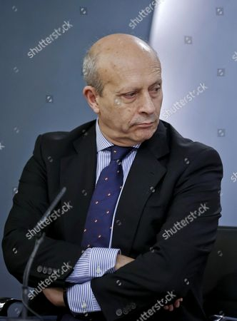 Spanish Education Minister Jose Ignacio Wert During a Press Conference Held After the Spanish Cabinet Meeting at La Moncloa Palace in Madrid Spain 24 October 2014 Wert Has Said That the Spanish Language Should Be the Second World Language of the Internet After English Spain Madrid