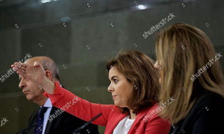 (l-r) Spanish Education Minister Jose Ignacio Wert Deputy Prime Minister Soraya Saenz De Santamaria and Labour Minister Fatima Banez During a Press Conference Held After the Spanish Cabinet Meeting at La Moncloa Palace in Madrid Spain 24 October 2014 Spain Madrid