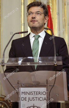 Newly Appointed Spanish Justice Minister Rafael Catala Delivers a Speech After Receiving the Portfolio From His Predecessor Alberto Ruiz-gallardon at the Justice Ministry in Madrid Spain 29 September 2014 Catala is Succeeding Minister of Justice Alberto Ruiz Gallardon who Resigned on 23 September After the Spanish Government Withdrew a Controversial Abortion Law That He Had Spearheaded Spain Madrid
