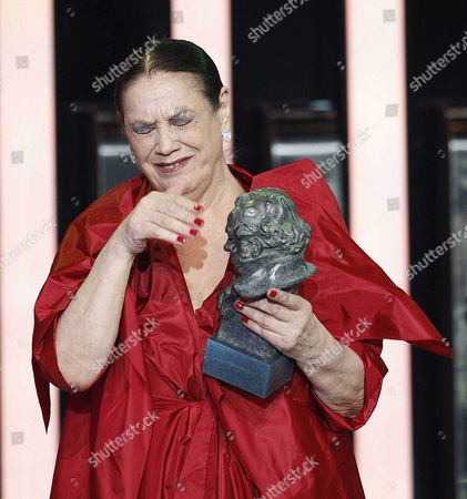 Spanish Actress Terele Pavez is Overcome by Emotions After Receiving Her 'Supporting Actress' Goya Award For the Film 'Las Brujas De Zugarramurdi' During the 28th Goya Awards Awarding Ceremony in Madrid Spain 09 February 2014 Spain Madrid