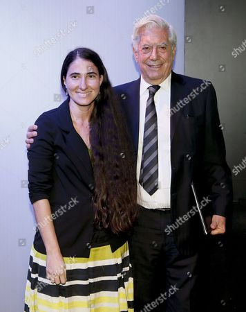Peruvian Author Mario Vargas Llosa (r) and Cuban Activist Yoani Sanchez (l) Pose During the Seventh Atlantic Forum at Casa De America in Madrid Spain 08 July 2014 the Event is Entitled 'The Economic and Institutional Consolidation of Latin America: Challenges' Spain Madrid
