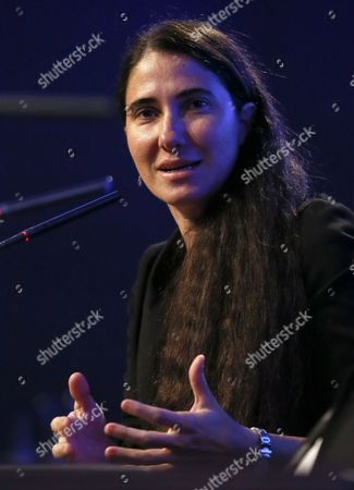 Stock Image of Cuban Activist Yoani Sanchez Speaks During the Seventh Atlantic Forum at Casa De America in Madrid Spain 08 July 2014 the Event is Entitled 'The Economic and Institutional Consolidation of Latin America: Challenges' Spain Madrid