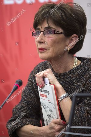 Spanish Journalist and Translator Pilar Del Rio Widow of Portuguese Writer and Literature Nobel Prize Winner Jose Saramago Holds a Copy of the Novel 'Alabardas Alabardas Espingardas Espingardas' ('halberds Halberds! Muskets Muskets!') During Its Presentation in Malaga Spain 23 January 2015 the Novel is a Posthumous Work of Jose Saramago an Unfinished Book That the Author Had Begun in Late 2009 and Had Continued in February 2010 It Also Contains Illustrations of German Writer Guenter Grass and Texts of Italian Writer Roberto Saviano and of Spanish Writer Fernando Gomez Aguilera Spain Malaga