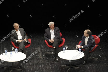 Stock Picture of Spanish Writers Javier Marias (r) Arturo Perez-reverte (l) and Peruvian Writer Mario Vargas Llosa (c) Participate in a Discussion About Literature to Mark the 50th Anniversary of Spanish Publishing House 'Alfaguara' at the Teatros Del Canal Cultural Centre in Madrid Central Spain 12 May 2014 Spain Madrid