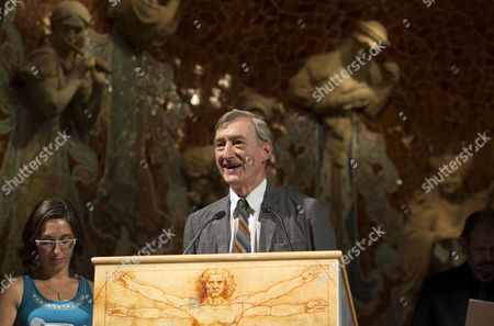British Writer Julian Barnes (r) Speaks After Receiving the 9th International Terenci Moix Award For His Career During a Ceremony Held at the Palau De La Musica in Barcelona Spain 01 October 2013 Spain Barcelona